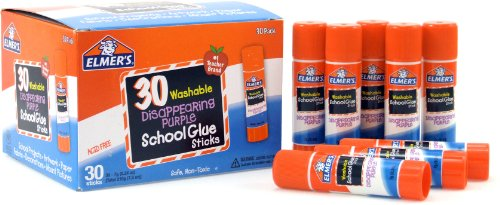 Elmers Disappearing Purple School Glue Sticks 0.24 Ounces Each 30-Count Class Pack (E555)