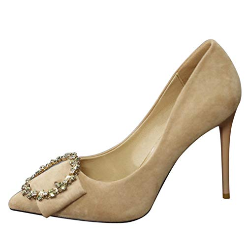 pointed suede heels shoes stiletto EU shoes temperament autumn high and Spring YMFIE sexy rhinestone 37 fine XwqpYp8F