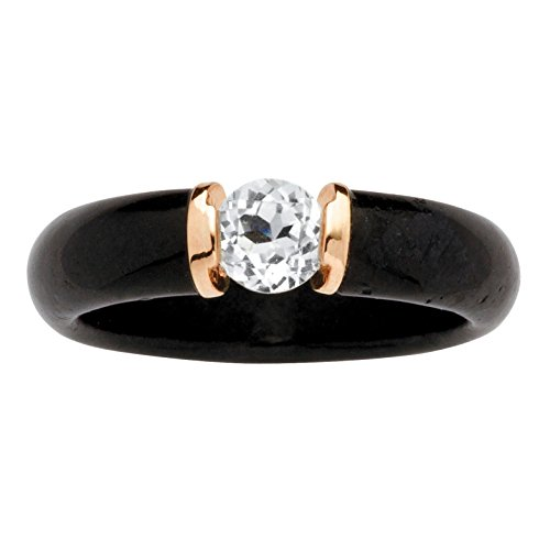 Genuine Black Jade and Round White Topaz 10k Yellow Gold Ring (Jade Ring Gold White Genuine)