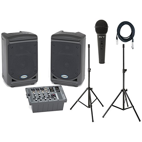 Samson Expedition XP150 Portable PA w/Speaker Stands, Dynamic Microphone, and XLR Cable by Samson Technologies