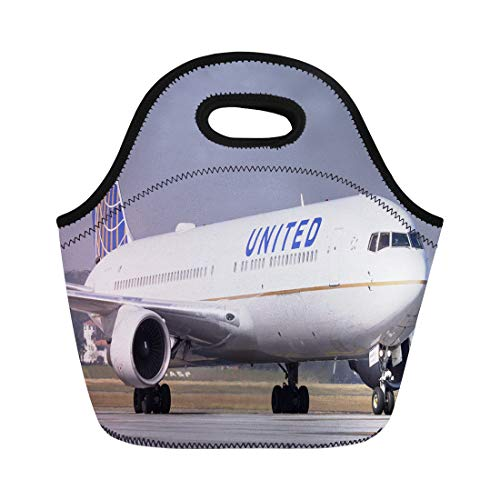 (Semtomn Lunch Bags Plane Boeing 767 300 of United Airlines at Guarulhos Neoprene Lunch Bag Lunchbox Tote Bag Portable Picnic Bag Cooler Bag)