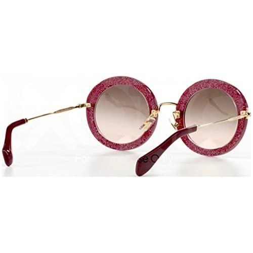 43996748595 Miu Miu 13NS DHH1E2 Cyclamen Glitter 13NS Noir Round Sunglasses Lens  Category 2 chic