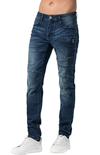 ZLZ Men's Ripped Skinny Distressed Destroyed Slim Fit Stretch Biker Jeans Pants with Holes (Blue01, ()