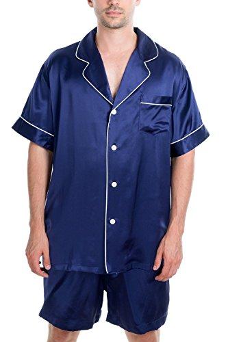 (OSCAR ROSSA Men's Luxury Silk Sleepwear 100% Silk Short Sleeve Top Boxer Short Pajamas Set Midnight)
