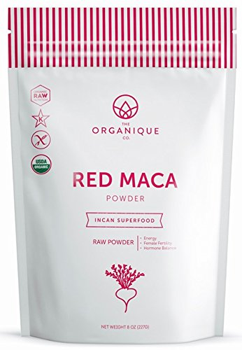 Certified Organic Raw Red Maca Powder - Libido and Energy Booster for Men & Women, Natural Fertility Blend for Females - Nutrient Rich Superfood, Non-GMO, Vegan, Gluten Free - Not Gelatinized - 8 oz