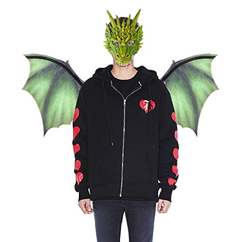FEDULK Fantasy Halloween Dinosaurio Dragon Costume Cosplay Animal Mask Wing Accessory for Evening Party Prom(Green)