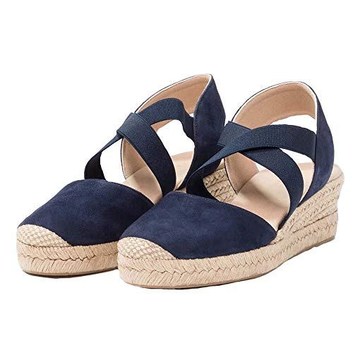 - Nailyhome Womens Espadrilles Platform Wedge Sandals Elastic Crisscross Strappy Closed Toe Mid Heel Sandals Navy