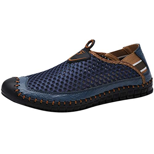 SUNyongsh New Men's Shoes Mesh Shoes Leisure Sports Shoes are Breathable in Summer Shoe Blue ()