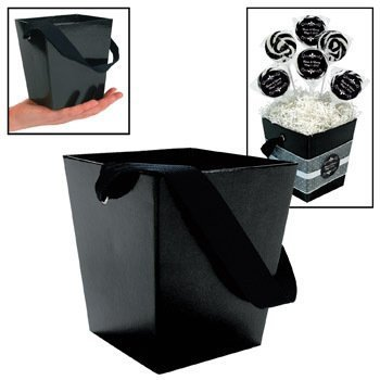 Fun Express - Black Cardboard Bucket W/ribbon Handle for Wedding - Party Supplies - Containers & Boxes - Paper Boxes - Wedding - 6 Pieces ()