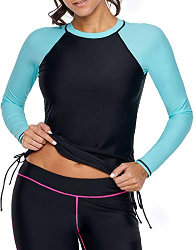 Colorblock Brief - Aleumdr Womens UPF 50+ Slim Fit Colorblock Full Sleeve Tankini Top with Short Brief Rash Guard Swimsuit Green X-Large 14 16