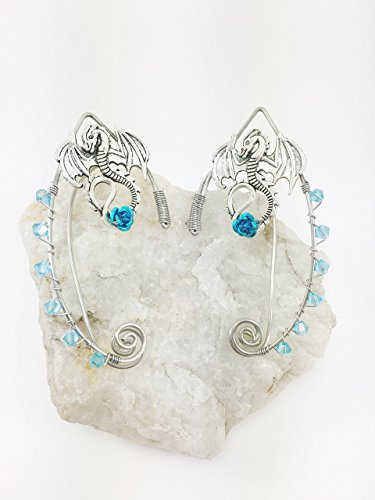 Elven Ear Cuffs Silver DRAGON with Rose, Fairy Ear Cuffs, Cosplay Elf Ear Cuffs, Fantasy Costume Ear Cuffs, Dragon Ear Cuffs, Wire Ear Cuffs