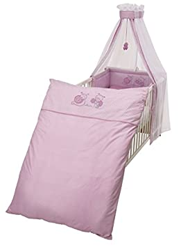 roba Kinder-Bettgarnitur 4-tlg, Babybett-Ausstattung, Bettset mit Applikation, Bettwäsche 100x135 (Decke & Kissen), Nestchen, Himmel 1492 P127