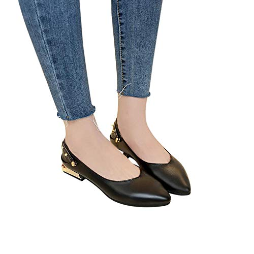 (Oliviavan Women's Slip On Pointed Toe Rivet Casual Loafers Slippers Singles Shoes Black)