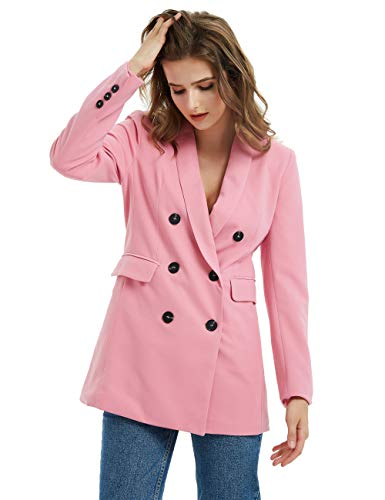 Russel Rainey Solid Color Double Breasted Long Sleeve Suits Blazer Jacket Coats Women Female (Pink Blazer, L)