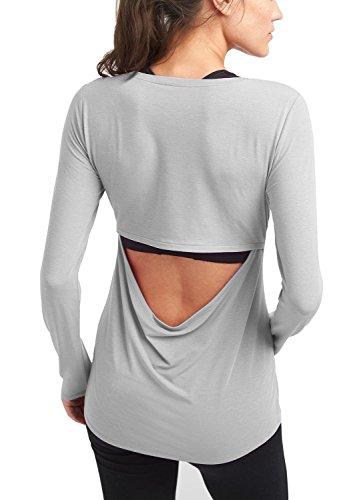 Bestisun Women's Sexy Yoga Tank Top Long Sleeve Cut Out Hollow Out Open Back Workout Sport Shirt Tunic Suit for Fall Winter Gray M