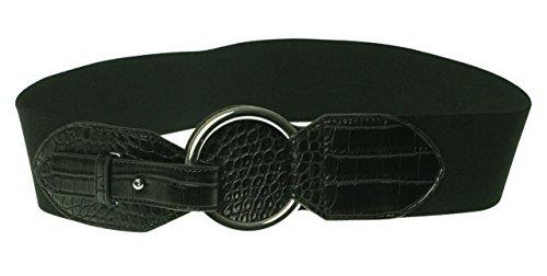 Lauren Ralph Lauren Croc-Embossed Stretch Belt Black (Ralph Lauren Croc)
