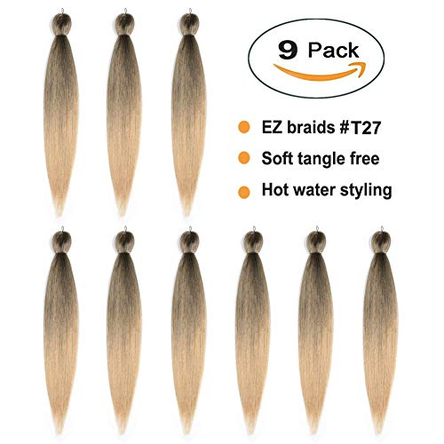 (EZ Braid 27, Pre Stretched Braiding Hair Professional Ombre Strawberry Blonde Synthetic Fiber Crochet Braids Itch Free Yaki Straight Hair Extension for Jumbo Box Braids (#T27 22
