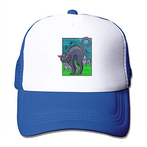 Unisex Halloween and Creepy Things Cat Kitty Trucker Cap Suitable for Indoor or Outdoor Activities Blue]()