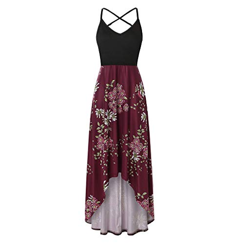 Londony❀♪ Women's Summer Striped Print Maxi Dress Contrast Sleeveless Tank Top Floral Print Long Maxi Dresses Wine