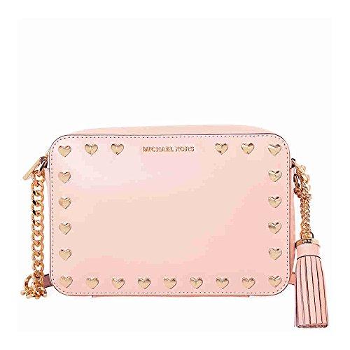 Michael Kors Medium Ginny Heart Studded Camera Bag - Soft - Camera Pink Hearts