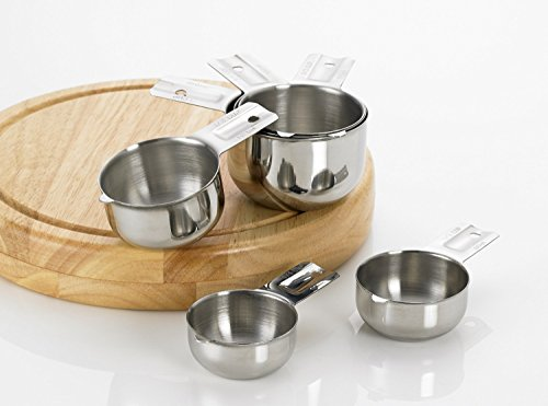 Dry stainless steel measuring cup set.