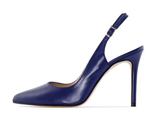 Shoes Pumps Blue Womens EDEFS Pointed Slingback Heels Stiletto Toe Court High SPBU4B0