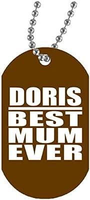 Doris Best Mum Ever - Military Dog Tag Brown Collar Colgante ...