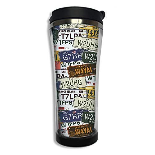 - Customizable Travel Photo Mug with Lid - 14.2OZ(420 ml) Stainless Steel Travel Tumbler, Makes a Great Gift by,USA,Retro American Auto License Plates Utah Washington Rhode Island North Carolina Print,M