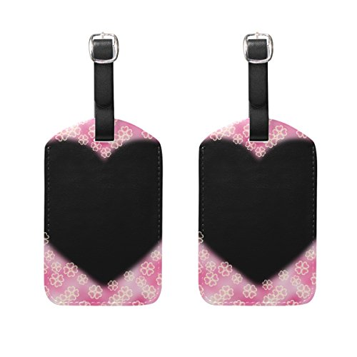 Set of 2 Luggage Tags Heart Shamrock Clover Suitcase Labels Travel Accessories