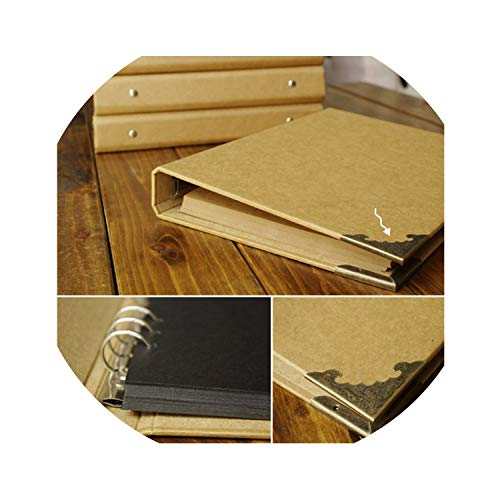 (Blank Cover Loose Leaf Craft Paper Album Handmade DIY Photo Album Scrapbooking Wedding Albums Hand Painted Diary Book,Beige Card Album)