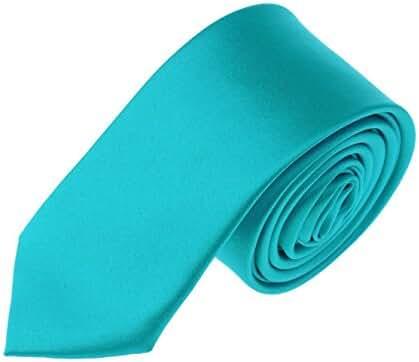 Mens Skinny Tie Teens Solid Color Neckties 2 Inch