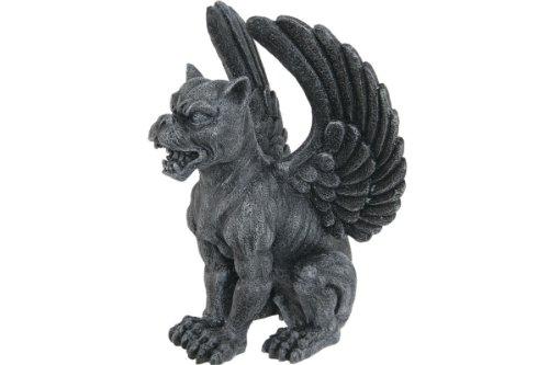 Winged Gargoyle Statue - PTC Resin Medieval Sitting Winged Lioness Gargoyle Figurine Statue