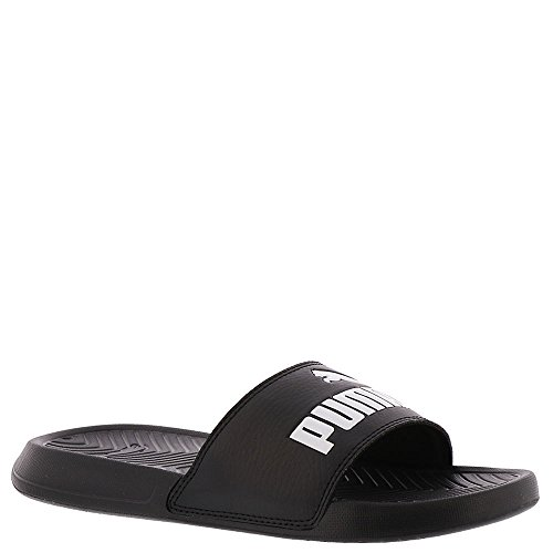 PUMA Women's Popcat WNS Slide Sandal, Black White, 8.5 M US