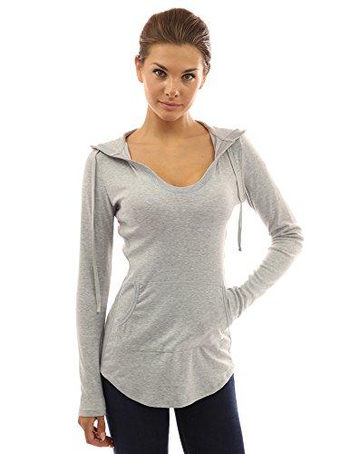 PattyBoutik Women's Hoodie Curve Hem Tunic Top