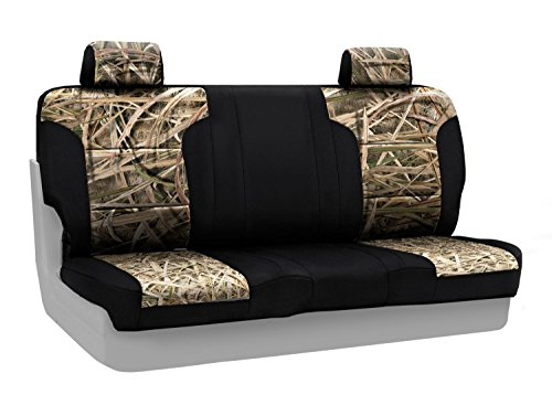 Coverking Front Solid Bench Custom Fit Seat Cover for Select Ford Models - Neosupreme (Mossy Oak Shadow Grass Camo with Black Sides) (Shadow Front Bench)