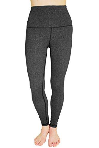 90 Degree By Reflex - High Waist Cotton Power Flex Leggings - Tummy Control - Heather Stone Grey L