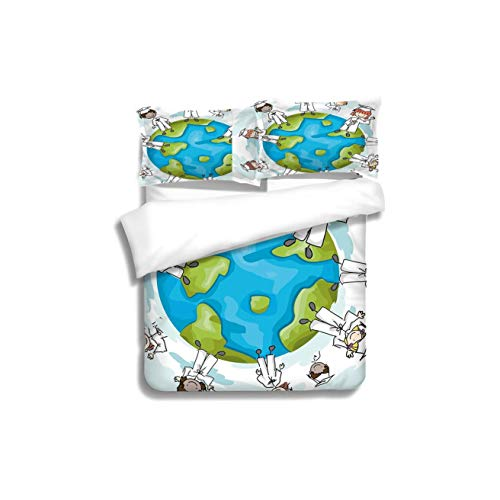 (Family bed Graduation Decor Cartoon Graduate Children on Top of the World Special Event Worldwide Decorative 3 Piece Bedding Set with Pillow Shams, Queen/Full, Dark Orange White Teal)