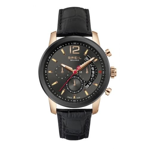 BRAND NEW Breil Men's Chronograph Miglia Black Leather Band Rose Gold Accent Watch TW1264
