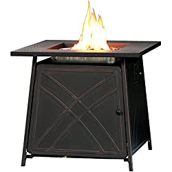 "BALI OUTDOORS Firepit LP Gas Fireplace 28"" Square Table 50,000BTU Fire Pit, Best Firetable, Black"