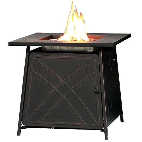 BALI OUTDOORS Firepit LP Gas Fireplace 28″ Square Table 50,000BTU Fire Pit, Best Firetable, Black