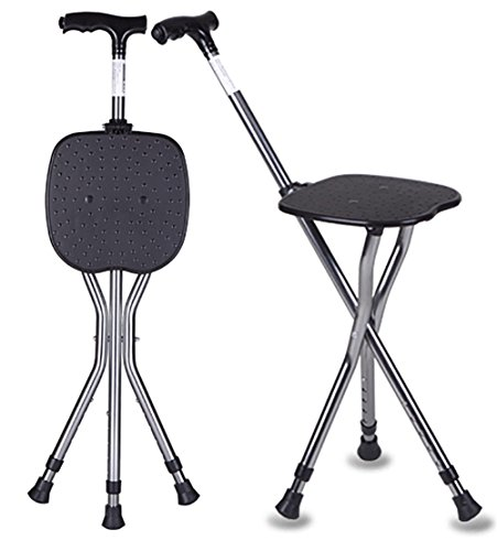G M Adjustable Folding Walking Cane Chair Stool with Adjustable Height Cane Seat 85-95CM
