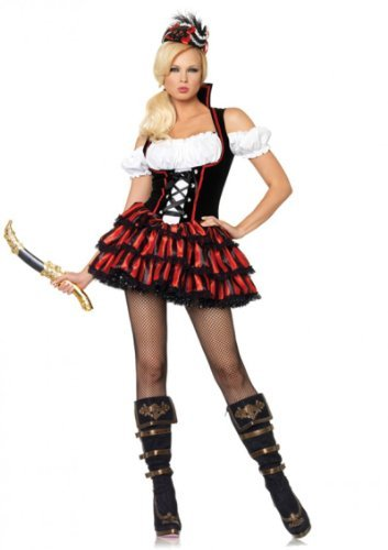 Leg Avenue Women's Shipwreck Pirate Costume, Multi, (Leg Avenue Pirate Wench Costume)