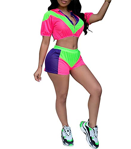 Womens Two Piece Tracksuit Outfits - Casual Patchwork Mesh Crop Top Shorts Set for Summer Fuchsia Size XL