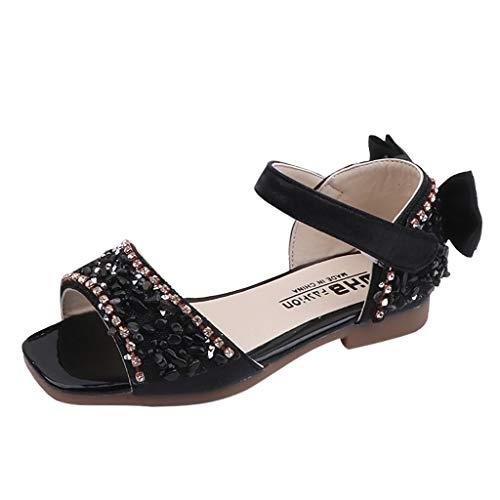 (Tantisy ♣↭♣ Girls Crystal Princess Sandals/Bowknot Single Shoes/Sweet Dancing Shoes (Toddler/Little Kid/Big Kid) Black)