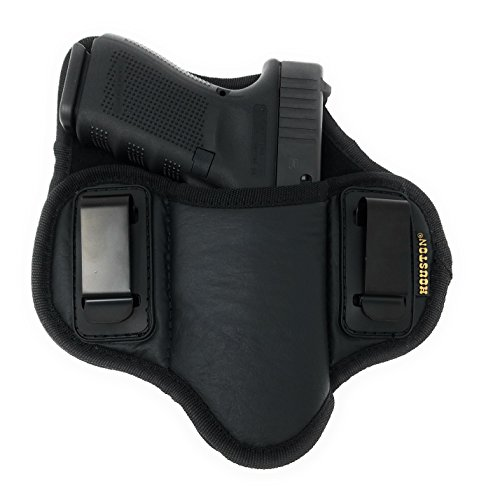 Tactical Pancake Gun Holster Houston - ECO Leather Concealed Carry Soft Material | Suede Interior for Protection | IWB | Right Hand | Fit: Glock 19 17 20 21 22 23 | Beretta 92 FS, PX4, XDM, HK USP, MP