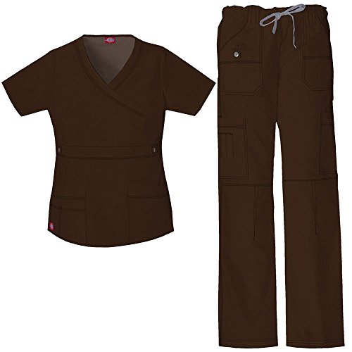 Dickies Gen Flex Women's Mock Wrap Scrub Top & Straight Leg Scrub Pant Set X-Small Chocolate by Dickies