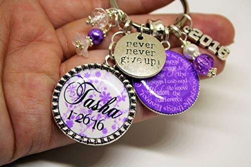 Personalized Never Never Give Up sobriety gift key chain months years clean sober serenity prayer sponser recovery gift just for today one day at a time ()
