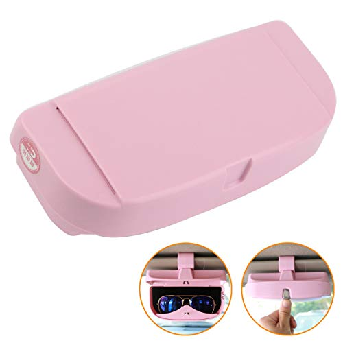 Roadwiz Car Visor Sunglasses Case Magnetic Coins Cards Organizer Storage Box Clip Holder-Pink