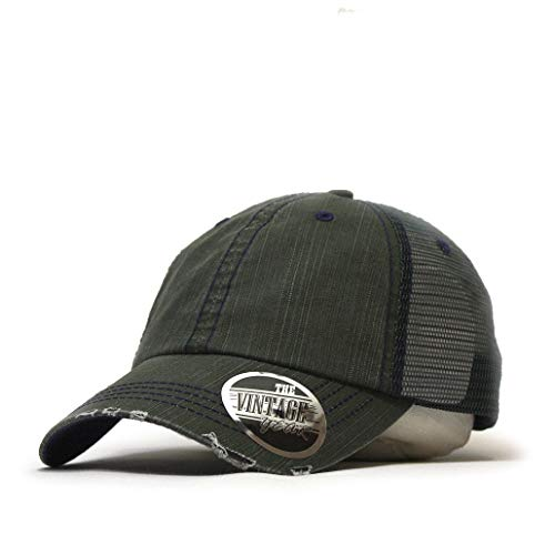 Vintage Year Washed Cotton Low Profile Mesh Adjustable Trucker Baseball Cap (Distressed Dark Green)