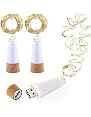 Led-flessenkurkverlichting, USB-voeding, oplaadbaar, 1,9 m koperen kabel met 20 led-sterrenhemel lichtsnoeren, voor doe-het-zelf decoratie, buitenfeest, feest, bruiloft, vakantie, 3 stuks, warm wit